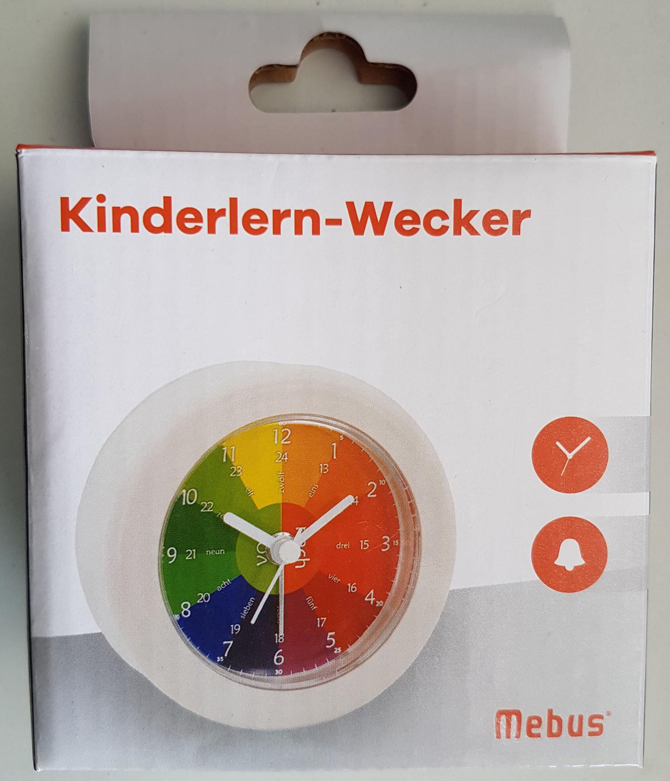MEBUS KINDERLERN-WECKER Kinderuhr Uhr Wecker mit Quarzuhrwerk - WEIß - NEU OVP