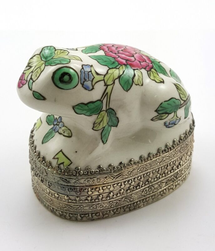 "3"" Vintage Hand painted Chinese Shard Box Tibetan Silver Porcelain Jewelry FROG"