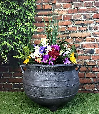 Witches Cauldron Garden Planter 15inch Cast Iron Effect / patio pot tub flower