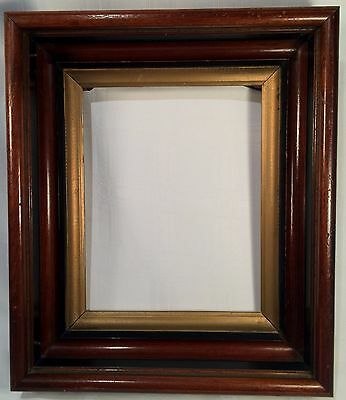 ANTIQUE VICTORIAN SHADOWBOX WALNUT & EBONY W/GOLD WOOD PAINTING PICTURE FRAME