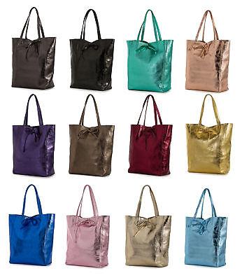Womens Genuine Italian Soft Leather Leightweight Hobo Shopper Handbag - Astrid