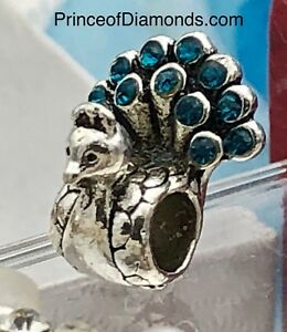 Silver coloured peacock w blue gems bead fits pandora bracelet