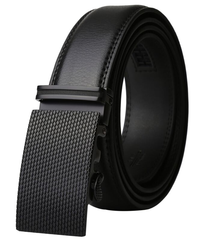 Real Leather Belt Buckle Mens Dress Automatic Ratchet Elegan