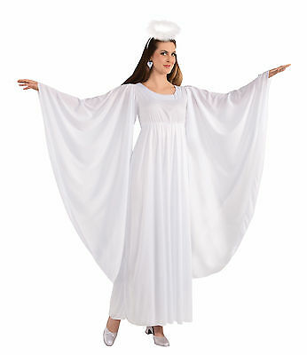 Adult Angel Costume Christmas Nativity Play White Gown Dress Robe Size Standard