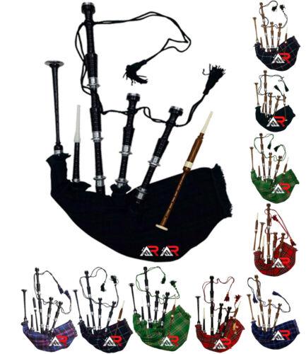 Scottish Great Highland Bagpipes Silver Mounts Black Sheesham wood Tutor Book