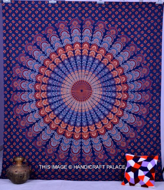 Indian Queen Blue Mandala Tapestry Hippie Bohemian Wall Hanging Bedspread Decor