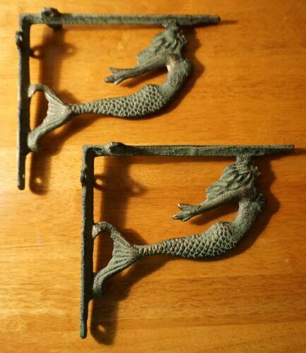 Rustic Patina Mermaid Cast Iron Shelf Bracket Sculpture Set Beach Home Decor NEW