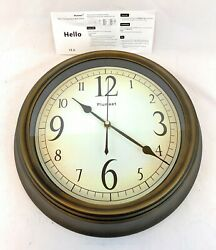 Plumeet Large Retro Wall Clock - 13'' Non Ticking Classic Silent Big Numbers