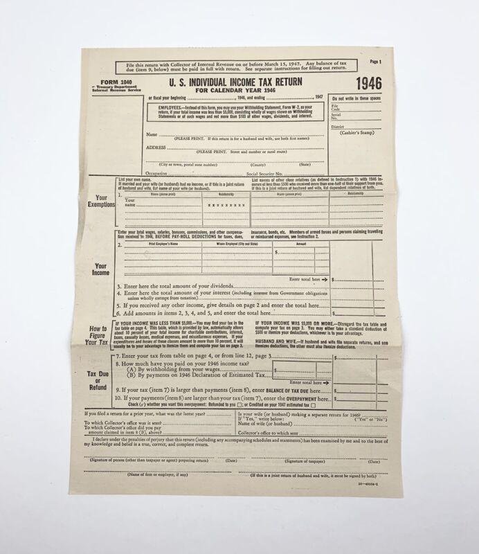 Vintage Blank US Individual Income Tax Return Form 1946 Ephemera Form 1040
