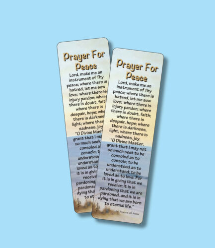 """""""Prayer For Peace"""" - St. Francis Of Assisi - 2 Verse Bookmarks -sku# VBM507"""