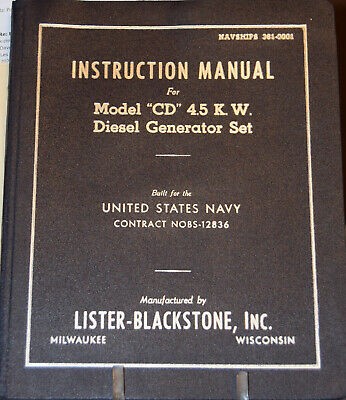 Instruction Manual Cd 4.5 K.w. Diesel Generator Lister-blackstone For Us Navy