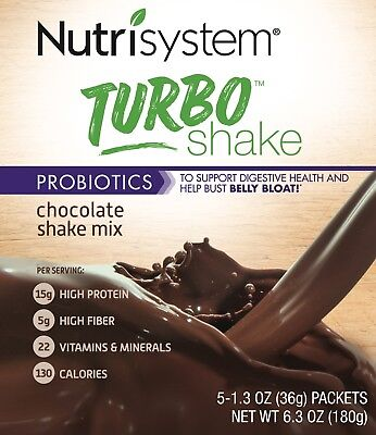 Nutrisystem 20 Turbo Shakes Chocolate Mix Bust Belly Bloat Digestive Health Diet