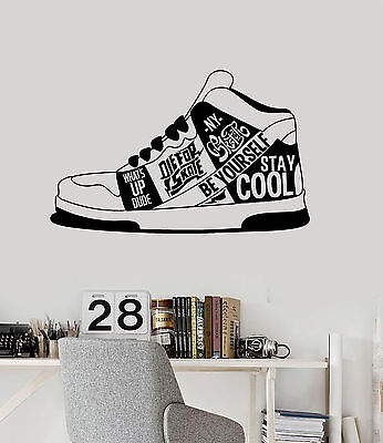 Vinyl Wall Decal Sneakers Urban Style Quote Teen Room Sticke