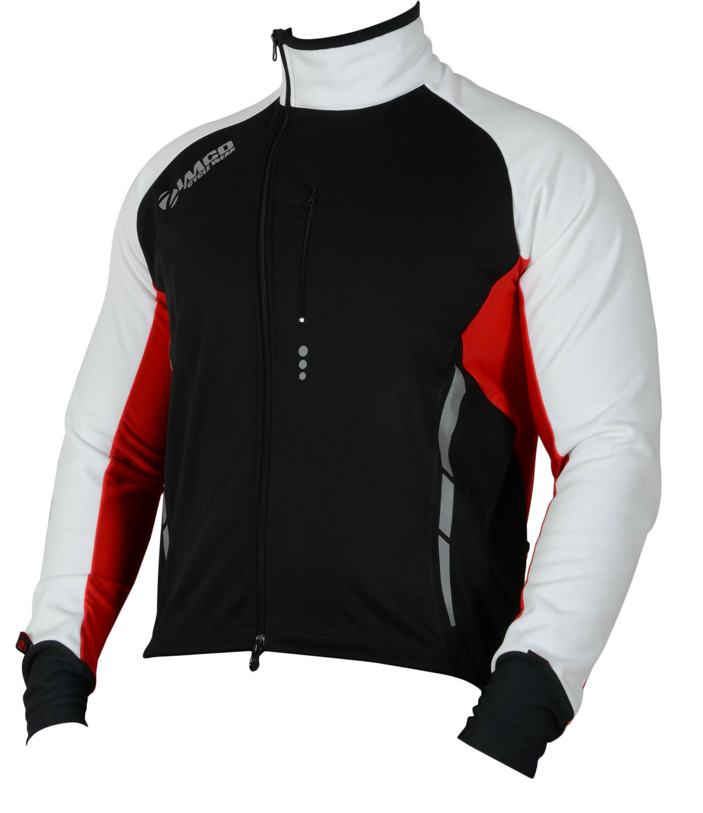 Small, Black-White-Red Zimco Pro Men Winter Cycling Jackets High Viz Bicycle Jersey Windproof Thermal Insulated Jacket