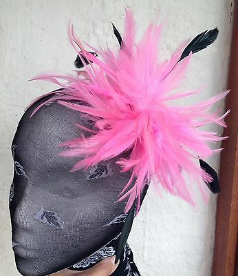 pink fascinator millinery feather brooch clip ascot race wedding bridal hair