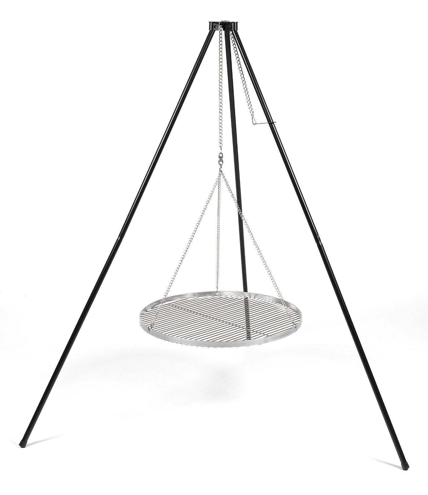 Schwenkgrill Höhe 200 cm Dreibein mit Grillrost Ø 50 cm Stahl
