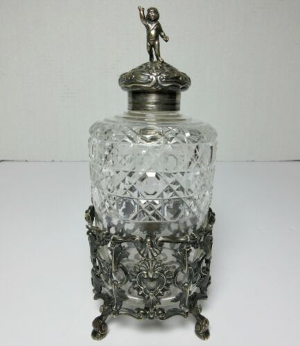 "LARGE STERLING SILVER & CUT GLASS BOTTLE & STAND FREDERICK BRASTED Antique 8""H"