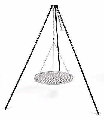 Schwenkgrill Dreibein mit Kette und EdelstahlGrillrost 60cm Set 3tlg BBQ