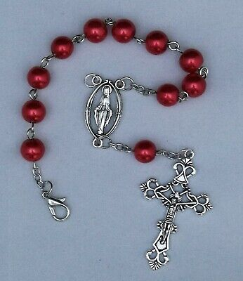 Handmade Personalised one decade bracelet or pocket rosary glass beads w/ clasp