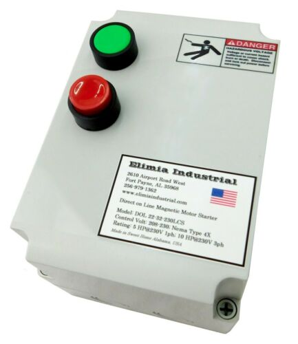 Elimia DOL 5-8-230LCS 2 HP 3ph 230V Magnetic Motor Starter Nema Rated 4X UL508A