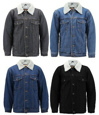 Men's Classic Button Up Sherpa Fleece Lined Cotton Denim Trucker Jean Jacket