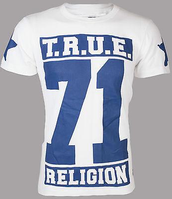 True Religion Mens T Shirt True 71 Stars White Royal Blue Cracked Print  105 Nwt