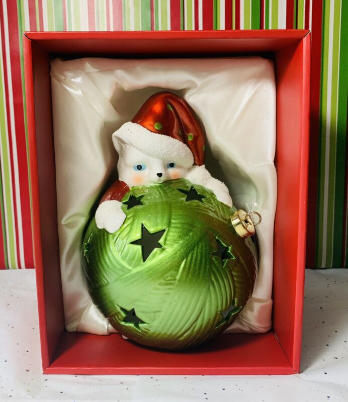QVC Home Reflections Cat Christmas Luminary w/ Flameless Candle & Timer -NEW