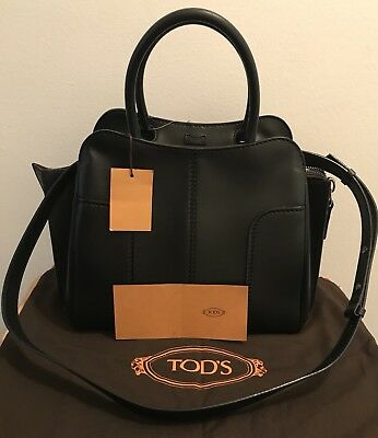 TOD'S Small Black Sella Tote Calf Leather Bag*NWT*