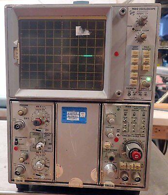 Tektronix 7603 Oscilloscope W7a18 7b53a Plug Ins  Parts And Repair 2
