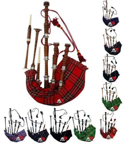 Scottish Great Highland Sheesham wood Bagpipe Full Silver Mounts with Case