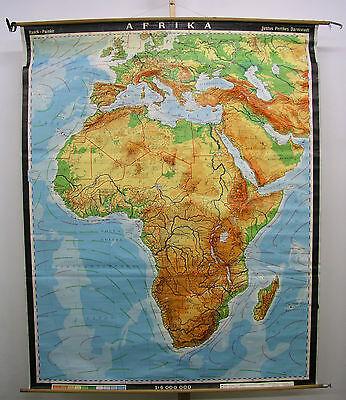 Schulwandkarte Afrika Africa physisch 1980 160x199cm Wandkarte Karte Schulkarte