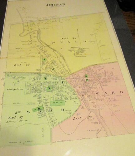 1874 MAP VILLAGE OF JORDAN NY ONONDAGA CO WITH RESIDENTS LISTED