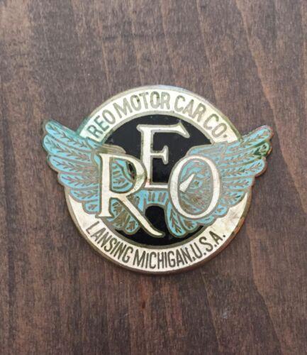REO Motor Car Company vintage automobile badge - Lansing, Michigan