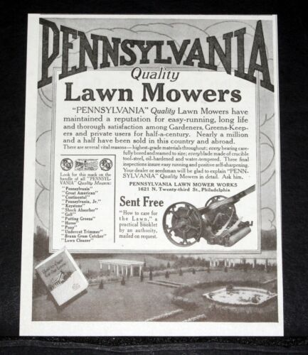 1917 OLD MAGAZINE PRINT AD, PENNSYLVANIA QUALITY LAWN MOWERS, ARE EASY RUNNING!