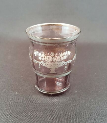 Cambridge Glass 2-oz cordial or tumbler Mulberry silver overlay 1070 line 1920s