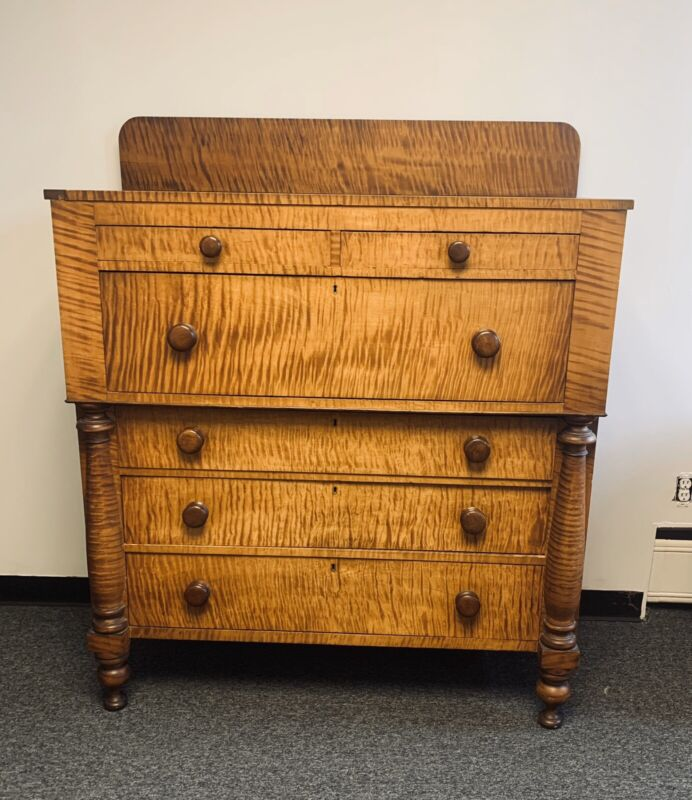 Best Killer! Circa Early 19c. American Empire  Solid Tiger Maple Cherry Chest