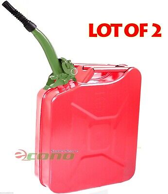 Lot Two Red 5 Gallon Jerry Can Gas Fuel Steel Tank Military Style Wgreen Spout