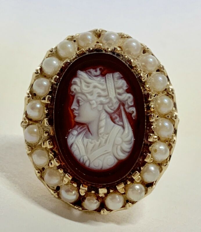 Antique Hardstone Agate & Pearl 14K Yellow Gold Intaglio Cameo Ring Size 9.5