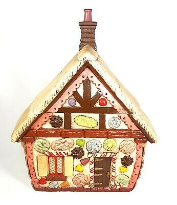 VTG Duncan Enterprises 1977 Ceramic Gingerbread House Cookie Jar Christmas Decor