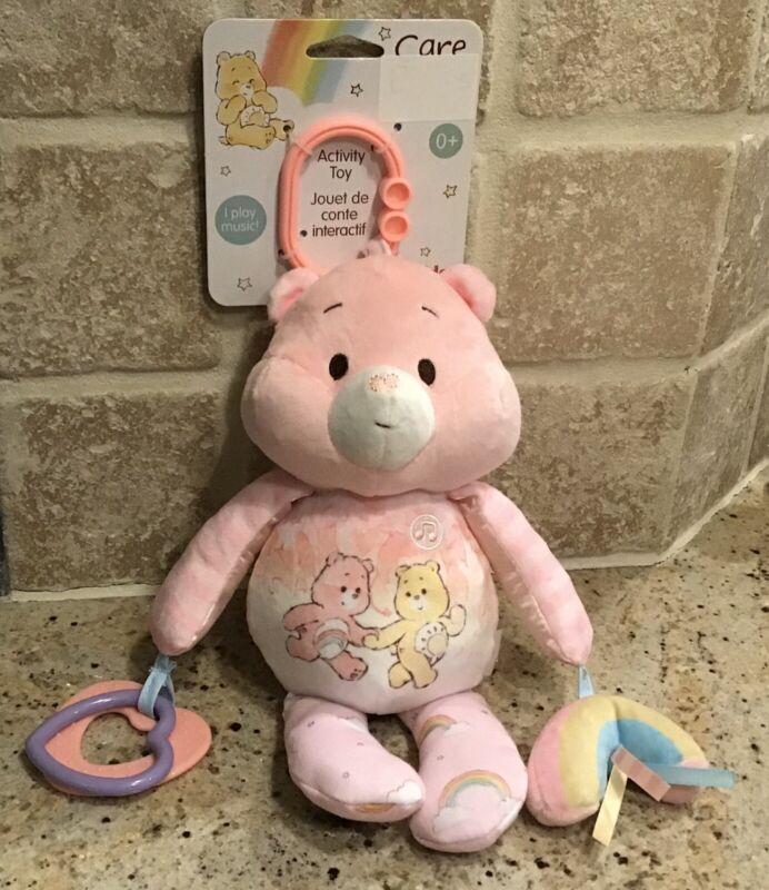 Care Bears New Pink Baby Plush Activity Toy Musical Rattle Teether