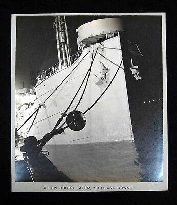 1940s Edw STEICHEN-type Silver PHOTOGRAPH - NAVAL SHIP'S HULL &  ANCHOR STUDY