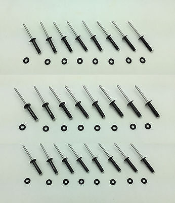 24 PC BLACK ALUMINUM TRI GRIP RIVETS FOR KAYAKS, CANOES OR BOATS
