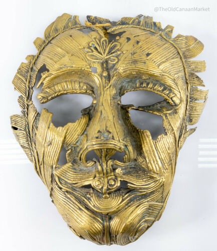 Antique Unusual Bronze Tribal Mask Benin African Tibetan Buddhist Decorative