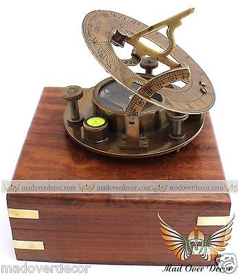 VINTAGE MARITIME WEST LONDON ANTIQUE BRASS SUNDIAL COMPASS NAUTICAL DECOR GIFT
