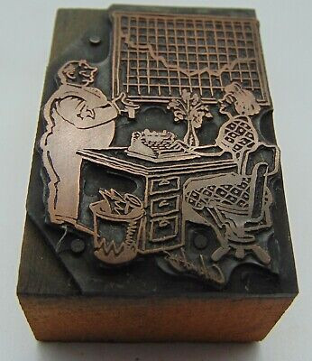 Printing Letterpress Printers Block Woman Desk Man Talking To Her