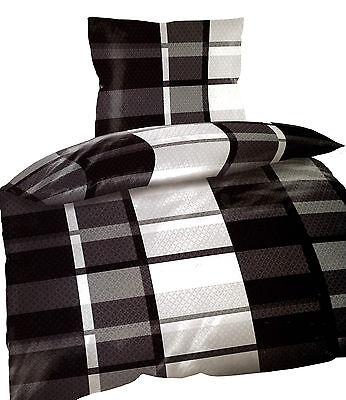 4 tlg Bettwäsche Microfaser 135x200 cm kariert schwarz grau weiß Doppelpack Neu
