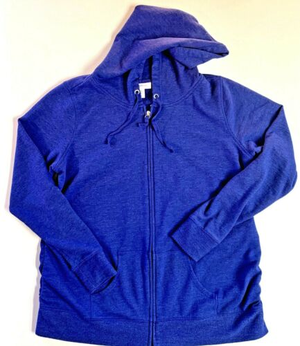 Motherhood Maternity Purple Zip Pullover Hoodie Purple XL Stretch Pregnant Belly
