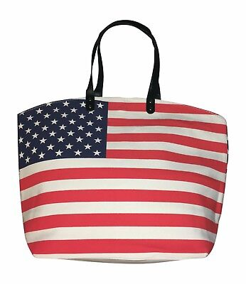 Flag Tote Bag - US American Flag Canvas Tote Bag, Ex Large
