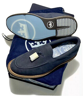 Peter Millar Crown Tassel Loafer Shoes Navy Blue MS19F22 Casual Sz 9.5 Run Small