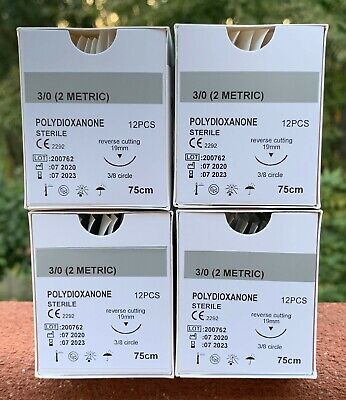 Veterinary Surgical Suture 30 Pdspdo 4 Boxes48ct Polydioxanone R-cutting 19mm
